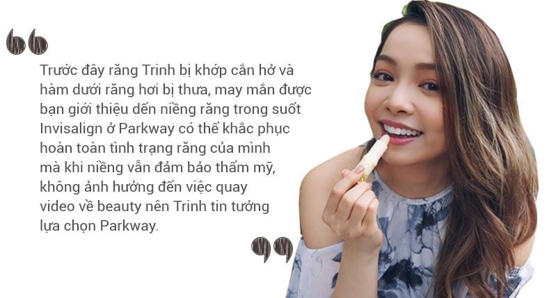 Blogger Trinh Phạm niềng Invisalign nha khoa parkway